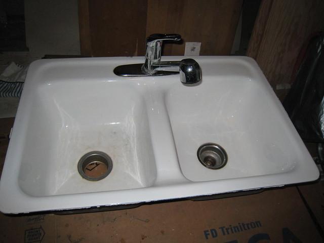 Nice porcelain coated cast iron kitchen sink for sale
