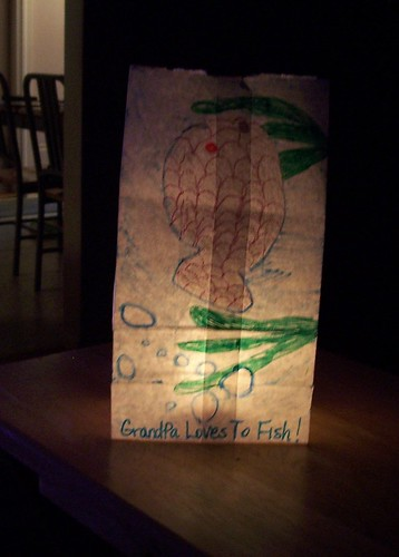Luminary Bag for Grandpa Tom - lit up by RIPizzo