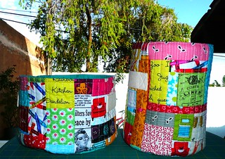 the sewing room swap - Twin set fabric bucket with handles