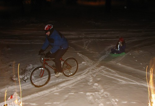 sledding Dad's way
