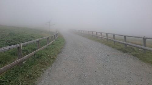 ちょっと行くだけたと思っていた数キロダート…。霧のおかげで途方もない