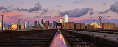 Dallas Pink Sunset Reflection On Train Tracks