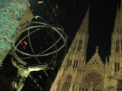 NYC - St. Patrick's Cathedral behind Atlas