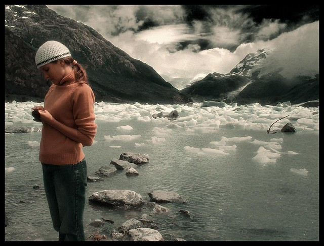 Angel with a beanie glaciers national park argentina by un