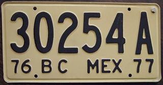 MEXICO, BAJA CALIFORNIA 1976-77 Commercial Bus plate?