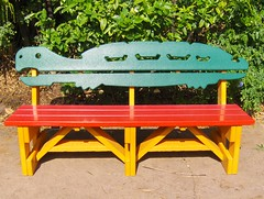 bench, outdoor furniture, furniture, yellow, wood,