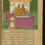 Illuminated Manuscript, Collection of poems (masnavi), A shoemaker and the unfaithful wife of a Sufi surprised by her husband's unexpected return home, Walters Art Museum Ms. W.626, fol. 163b