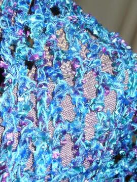 Blue Ribbon Yarn Triangle Scarf Detail | Crochet Poetry | Flickr