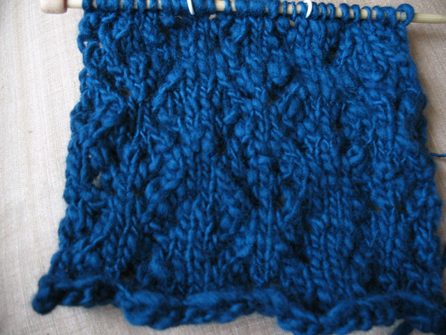Knitting Stitch Orientation : Little Lace Diamonds swatch A swatch of the