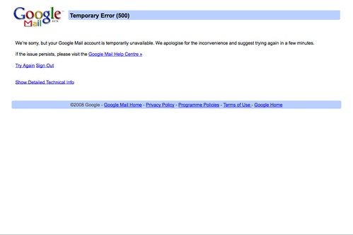 google mail dead error 500