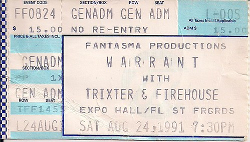 Troy's Tickets (08-24-91 Warrant/Trixter/Firehouse @ Fl. State Fairgrounds