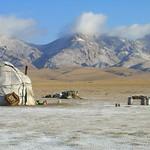 First Snow on Yurt and Mountains - Song Kul Lake, Kyrgyzstan