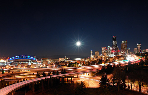 seattle moon night washington cityscape i5 pugetsound qwestfield lighttrails mlkday diamondclassphotographer