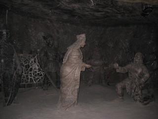 폴란드 소금광산 Powiat wielicki 근처 의 이미지. sol saint statue mine salt poland polska krakow cracow wieliczka shaft kinga kopalnia