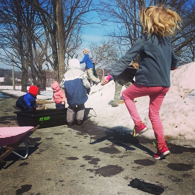 Snow melting, sunshine, and friends to play.
