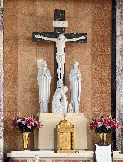 Mary Queen of Peace Roman Catholic Church, in Webster Groves, Missouri, USA - crucifix.jpg