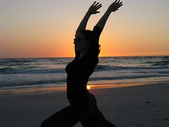 Yoga sunset silhouette