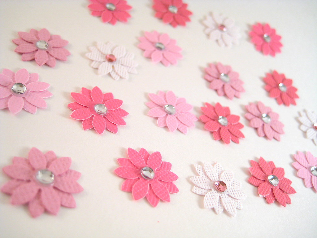 Shades of Pink Flower Embellishments