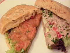 sandwich, meal, bread, baked goods, ciabatta, pã¢tã©, food, dish, cuisine,