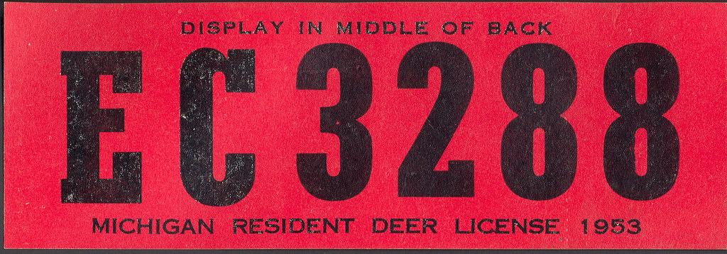 1953 michigan resident deer hunting license backtag ec3288 for Michigan non resident fishing license