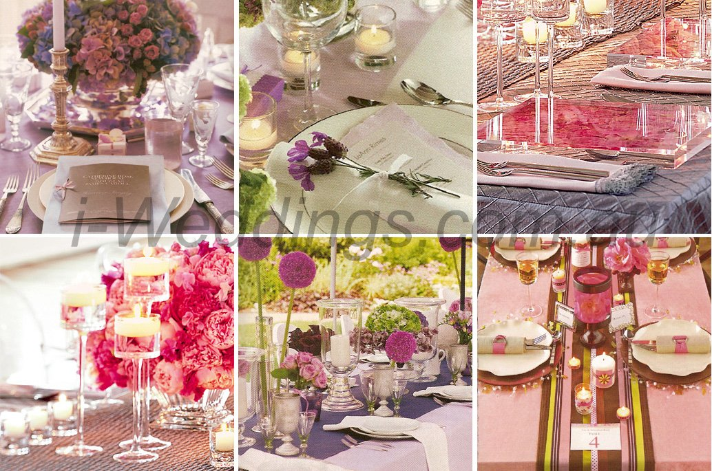 I weddings reception ilovethese pink and purple table for Wedding table setting ideas