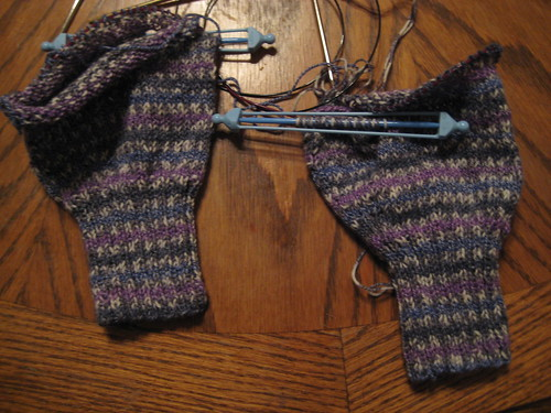 Almost finished wrist warmers that are way, way too big!