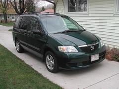 toyota(0.0), automobile(1.0), automotive exterior(1.0), compact mpv(1.0), vehicle(1.0), minivan(1.0), compact sport utility vehicle(1.0), mazda(1.0), mazda mpv(1.0), bumper(1.0), land vehicle(1.0),