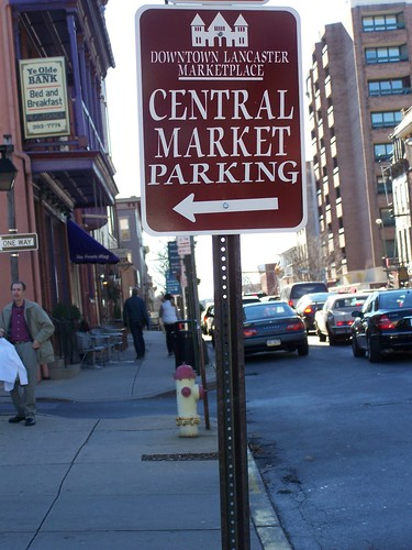 Downtown Lancaster Central Market parking sign