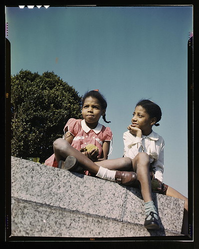 Two little girls in a park near Union Station, Washington, D.C.  (LOC)