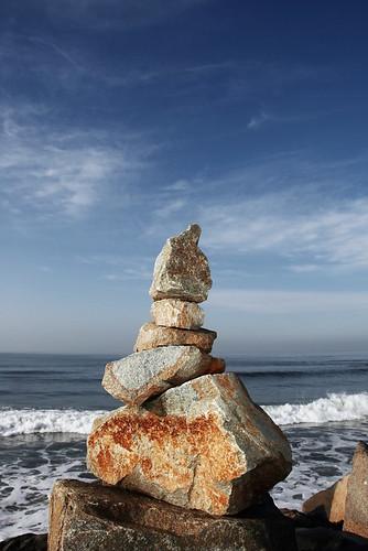 ocean sky landscape rocks carlsbad rockstacking