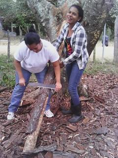 Honduras - Finca - Con una tutora preparando postes