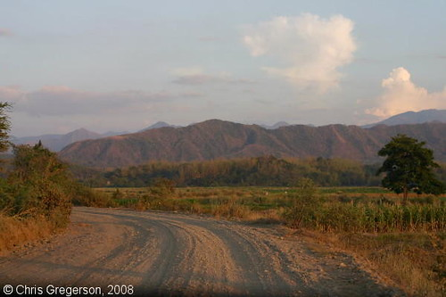 Gravel Road, Fields and Cordillera Mountains, Luzon, the Philippines