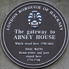 Photo of Isaac Watts and Abney House, London brown plaque