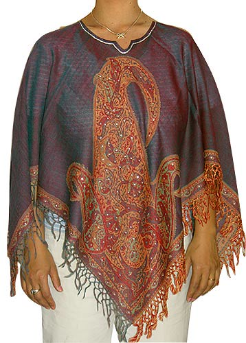 Poncho Shawls in Jacquard Designs Wool Fabric Handcrafted Women's Clothing from India (shalinfashions)