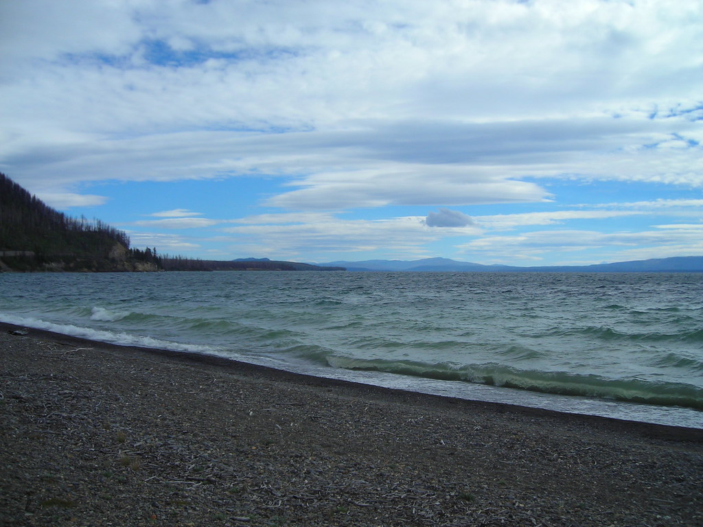 Panoramic view on Yellowstone Lake on East Entrance Road near Lake Village