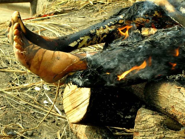 burning dead body