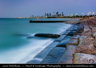 Kuwait - Kuwait City - Skyline from Al-Shuwaik at Dusk - Twilight - Blue Hour - Night