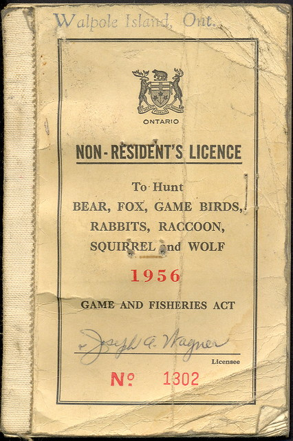 1956 ontario canada walpole island indian preserve non res for Michigan non resident fishing license