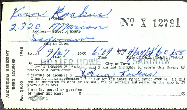 1965 michigan resident deer hunting license flickr for Michigan non resident fishing license