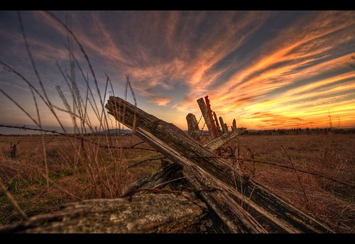 sunset red sky orange field grass clouds rural fence bravo pretty purple decay vivid hay hdr naturesfinest weekendamerica mywinners