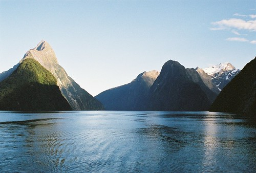 Milford Sound, toward Mitre Peak on a fine day