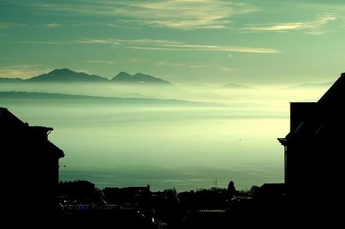 blue shadow sky lake water contrast switzerland view geneva lausanne leman genevalunch