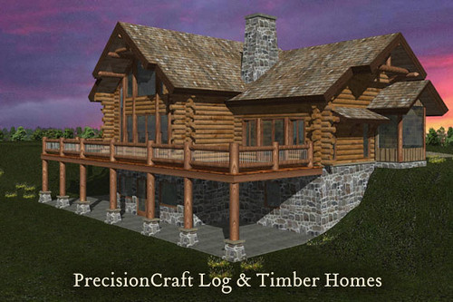Exterior View Rendering Of A Custom Milled Log Home