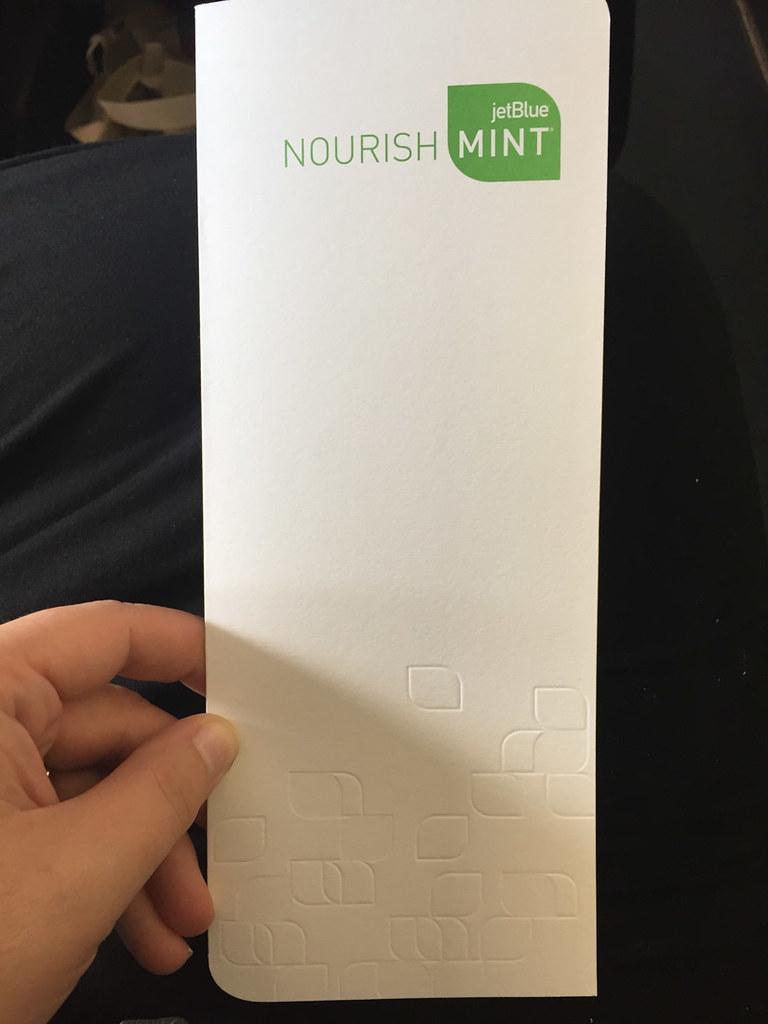JetBlue Mint Class Menu Cover