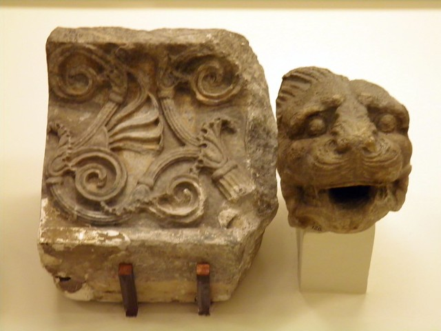 Sima blocks with lion-head spouts and acanthus ornament, from the Temple of Athena Polias, Priene, British Museum