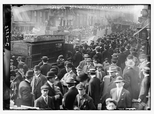 Garbage strike, crowd around carts  (LOC)