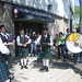 bagpipers warming up outside Yankee Stadium