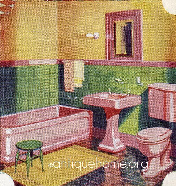 1930 Bathroom - Gordon-Van Tine | 1930s Pink Bathroom ...