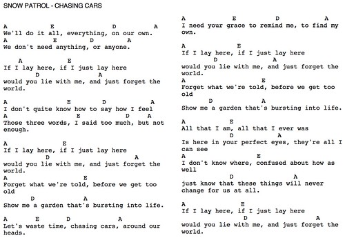 Guitar Chords For Chasing Cars By Snow Patrol image information