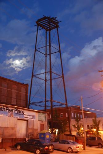 clouds downtown watertower nighttime missouri springfieldmissouri